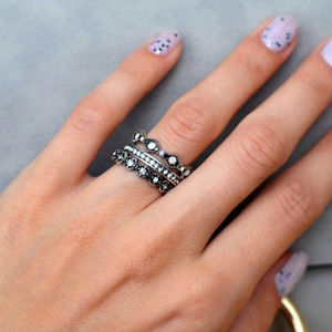 Antique Silver Finish Stackable Rings + 1 Free.
